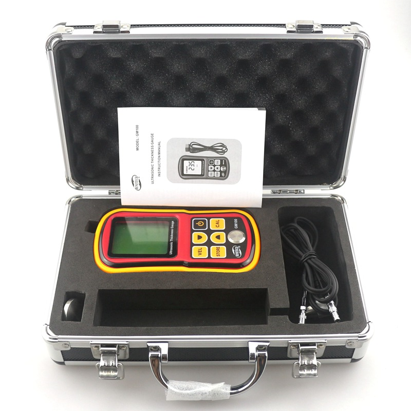 GM100 Ultrasonic Thickness Gauge with Retail Box Metal Width Measuring Tools 1.2~225mm Sound Velocity Meter Tester free shipping dt00301 dt00381 hs120w original projector lamp for cp s220 cp s220a cp s220w cp s220wa cp s270 cp s270w