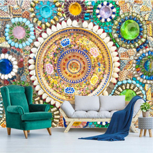beibehang  papel de parede Custom wallpaper European-style retro Bohemian jade mosaic collage mural background wall tapiz