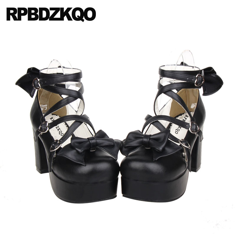 7967474010a Bow Crossdresser Pumps Block Round Toe Platform Shoes High Heels Big Size  Women Cross Strap Ankle 12 44 3 Inch 13 45 Lolita