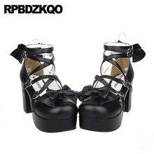 Bow Crossdresser Pumps Block Round Toe Platform Shoes High Heels Big Size  Women Cross Strap Ankle f2496618830b