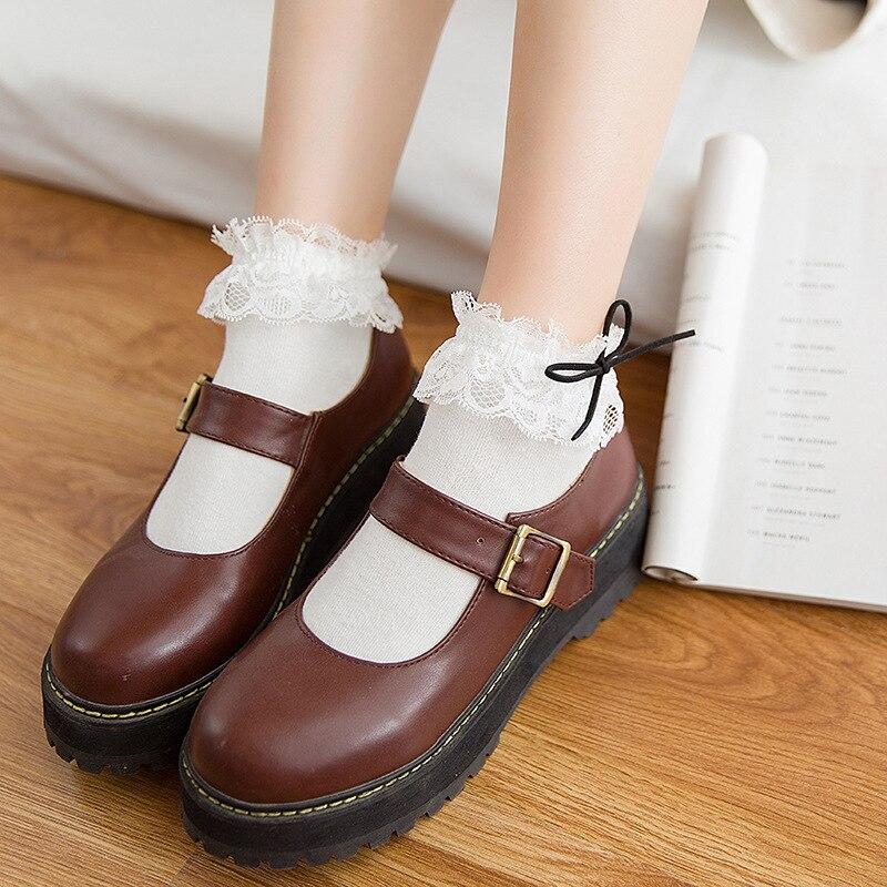 Sweet Cute Lovely Retro Socks Vintage Harajuku Women Girls Ruffle Cotton Bowknot Lace Soft Princess Ankle Socks Meias Short Sox
