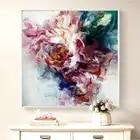 100% peint à la main abstraite grandes fleurs peinture à l'huile sur toile mur Art mur parure photos peinture pour salon décor à la maison