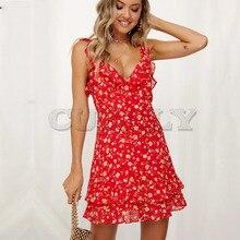 Cuerly Elegant ruffle short dress women Chiffon party strap beach casual dress female Cute cool daily sundress vestidos  L5