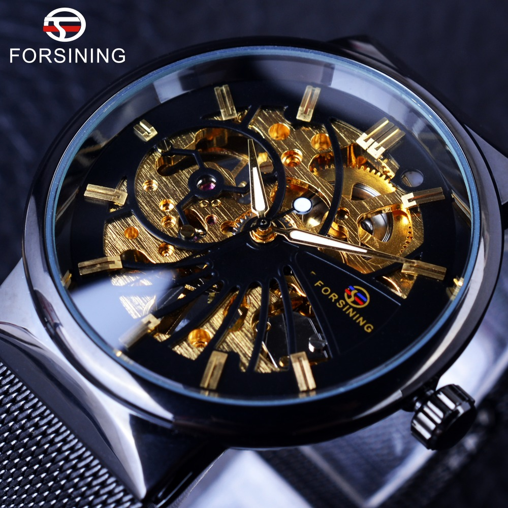 Forsining Fashion Luksus Tyndt Case Unisex Design Vandtæt Herre Samll Dial ure Topmærke Luksus Mechanical Skeleton Watches