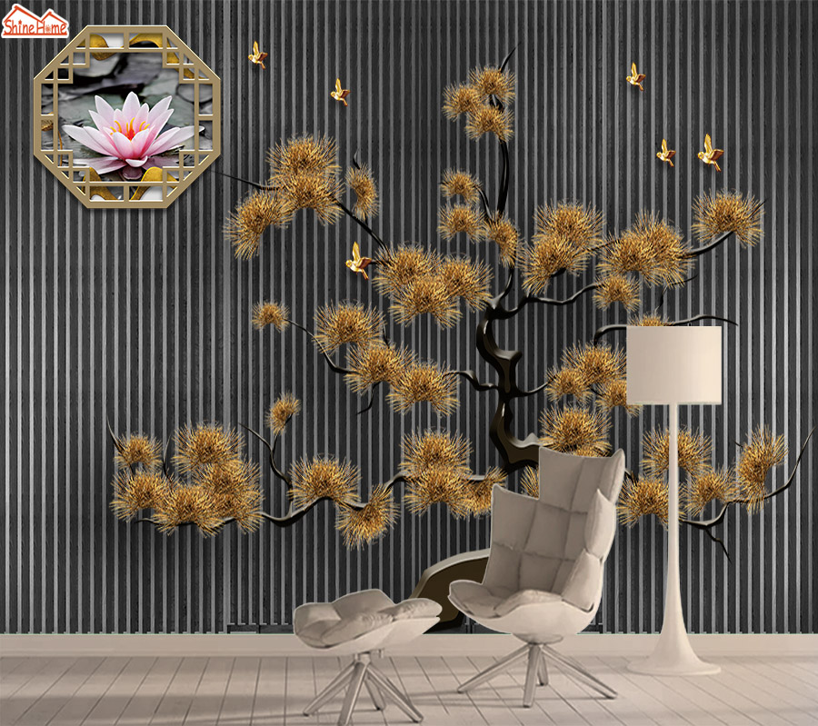 Mural 8d Photo Wallpaper 3d Wall Paper Papers Home Decor Wallpapers For Living Room Self Adhesive Black Gold Tree Murals Rolls