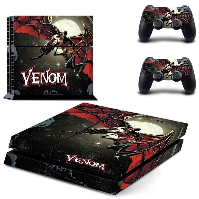 VENOM SPIDER PS4 Skin Stickers For Sony Playstation 4 PS4 Console Vinyl Decals Controllers Hot Game Cover Play station 4 Sticker
