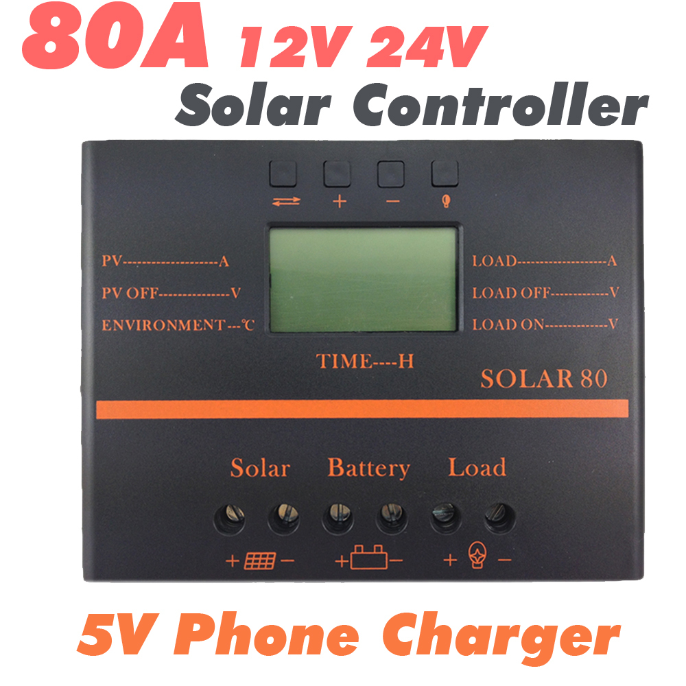 80A Solar Controller 12V 24V LCD 5V USB Charger for Mobile Phone PV Panel Battery Charge Controller Solar System Home Indoor Use