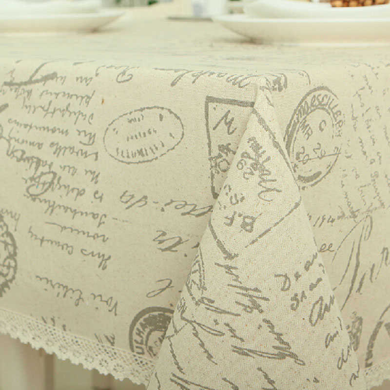 European Style Letter Printed Tablecloth Rectangle Cotton Linen Table Cloth Wedding Party Home Kitchen Dinner Tea Table Cover in Tablecloths from Home Garden