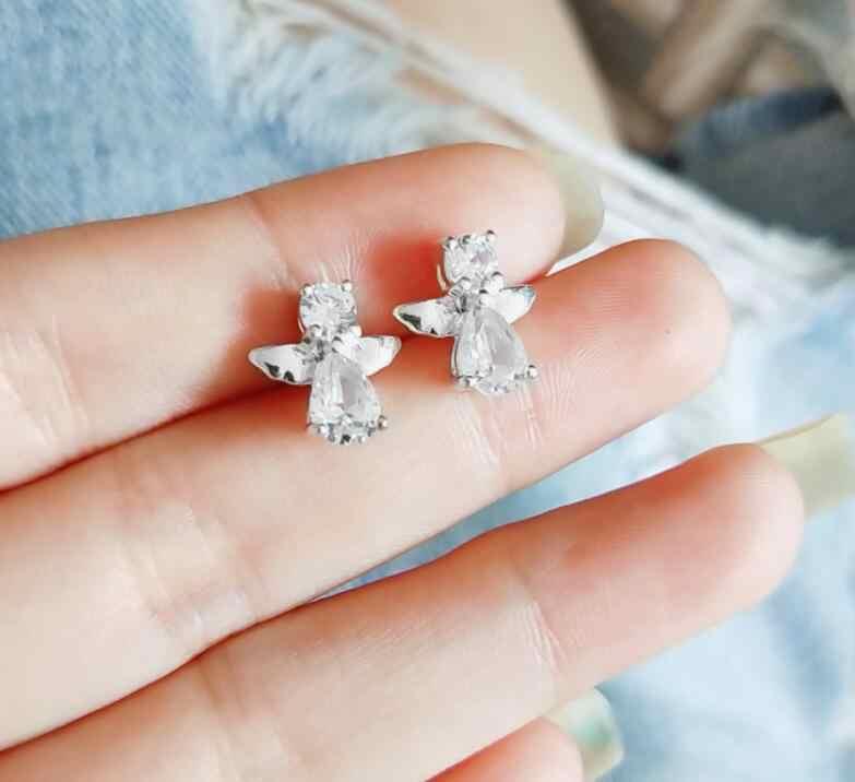 2018 New Dễ Thương Top trắng CZ wing Stud Earrings đối với Phụ Nữ trẻ em Gái Kids Bé món quà tốt nhất bạc Màu Trang Sức thả vận chuyển