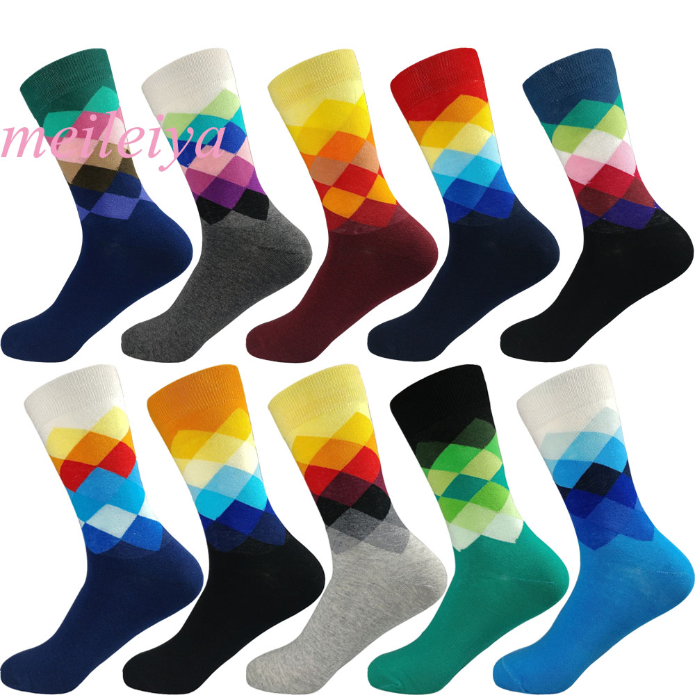 MEILEIYA 1 Pair = 2 Pieces Harajuku Style Men's Cotton   Socks   High Quality Men's Cotton   Socks   Warm Plaid Trend In The Tube   Socks