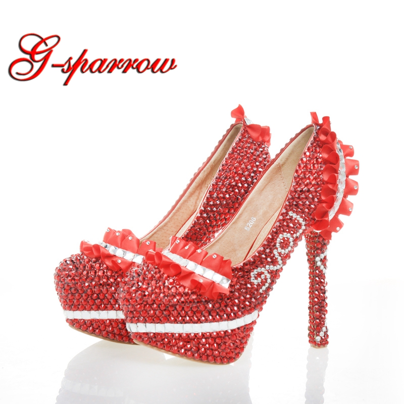 Marriage Wedding Shoes Red Rhinestone Princess Pumps Plus Size Dancing Party Shoes Adult Ceremony Prom Shoes Birthday Gift
