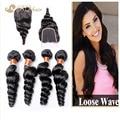 7A brasileiro solto onda 4 pacotes com Lace encerramento barato extensão do cabelo Rosa não transformados virgem humano brasileiro cabelo Weave