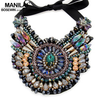 Ladies Luxury Boho Design Chokers Fashion Multicolor Crystal Statement Necklaces 2015 Women Party Wear Collar Necklaces