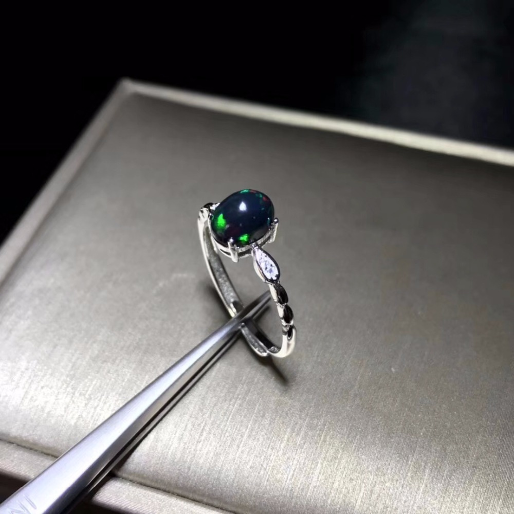 Simple and exquisite natural black Opal ring rare gemstone 925 Silver