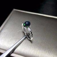 Простое и изысканное кольцо из натурального черного опала, редкий драгоценный камень, серебро 925
