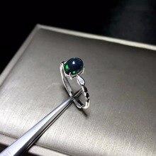 Bague en opale noire naturelle Simple et exquise, pierre précieuse rare en argent 925