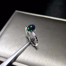 Simple and exquisite, natural black Opal ring, rare gemstone, 925 Silver