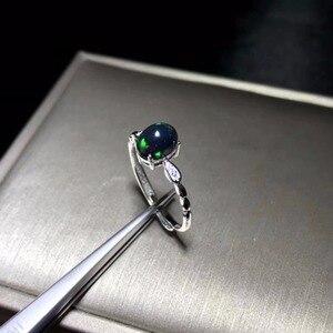 Image 1 - Đơn giản và tinh tế, tự nhiên màu đen Opal ring, đá quý hiếm, 925 Bạc