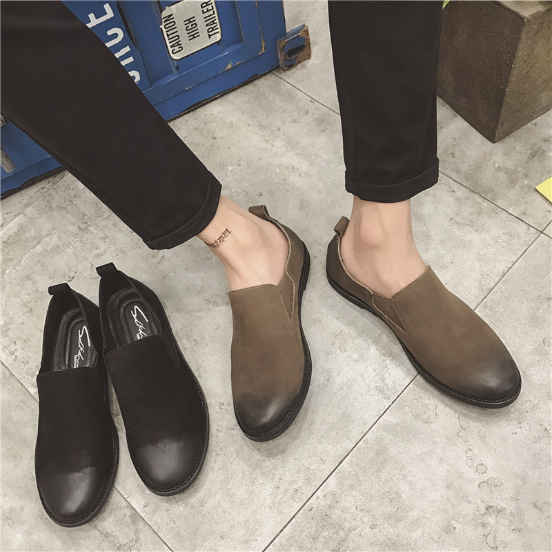 2017 New Style Black And Brown Men Han Edition Leather Flats Loafers Shoes Spring Autumn Casual Lace-Up Round Toe Shoes free shipping 2017 new black brown autumn and winter full grain leather casual shoes men s fashion flats lace up shoes for men