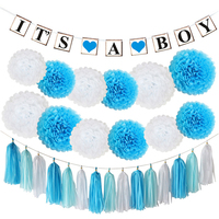 HAOCHU 25 stücke Junge Taufe Papier Banner Garland Blaue Seidenpapier Pom Poms Kissing Blumenball Kid Birthday Zimmer Decor
