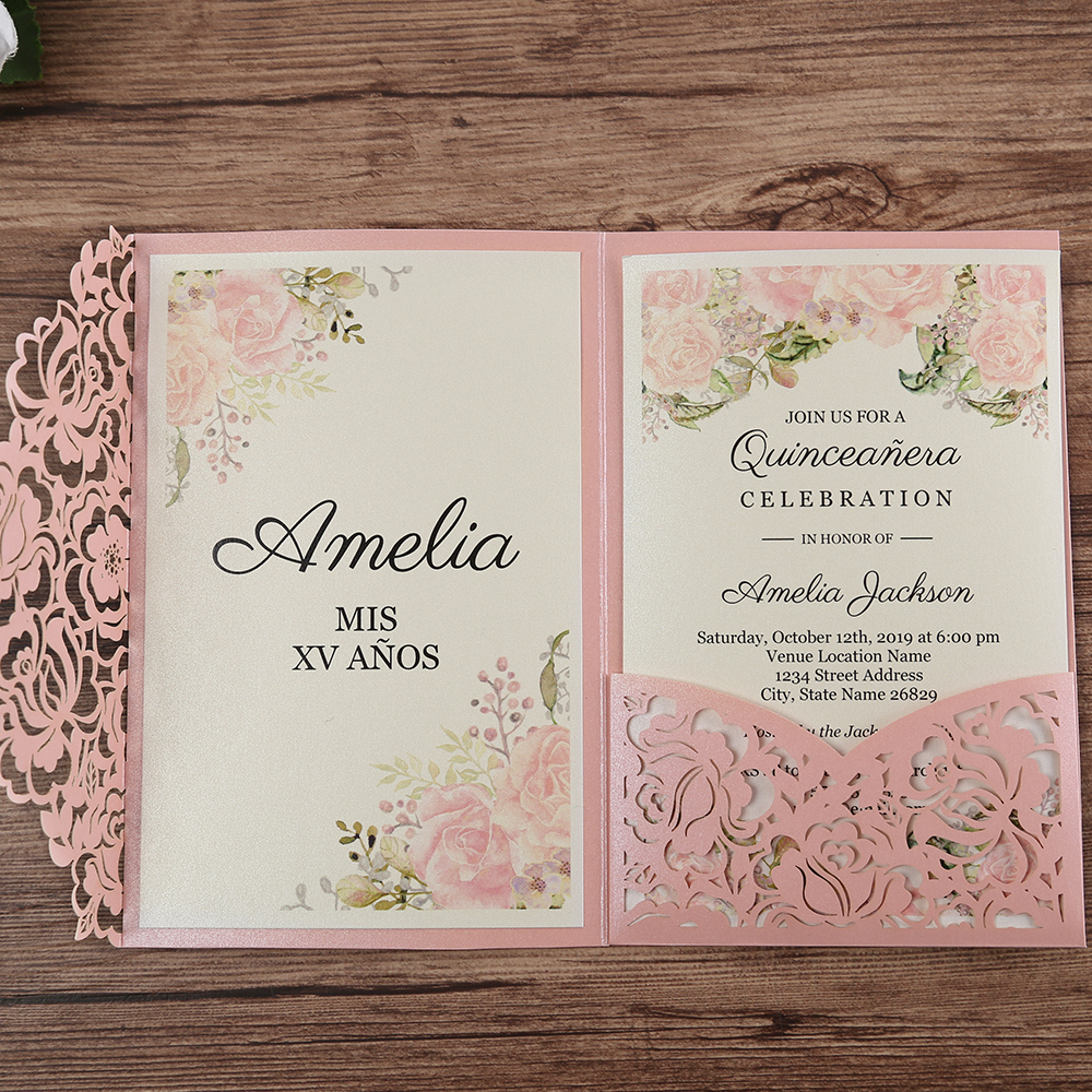 50pcs Pink Laser Cut Floral Invitation Cards for Wedding / Party / Quinceanera / Anniversary /  Birthday, CW0008