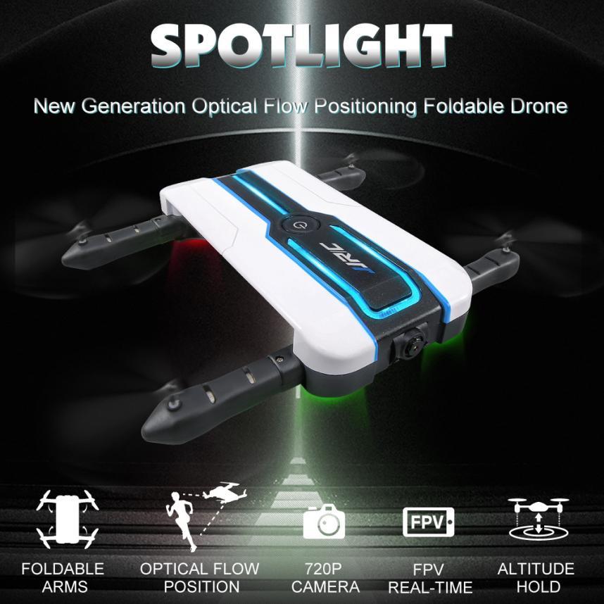 Drone con la macchina fotografica wifi JJRC H61 Follower Nuova Generazione di Flusso Ottico Pieghevole Drone Modalità Headless Colorate luci LED freddo flying