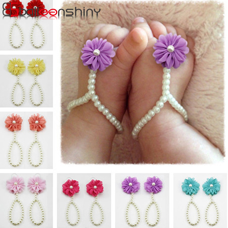 BalleenShiny Baby Pearl Anklets Shoe Fashion Jewelry With Flowers Foot Chain Infant Colorful Foot Accessories Hot Sale New Style