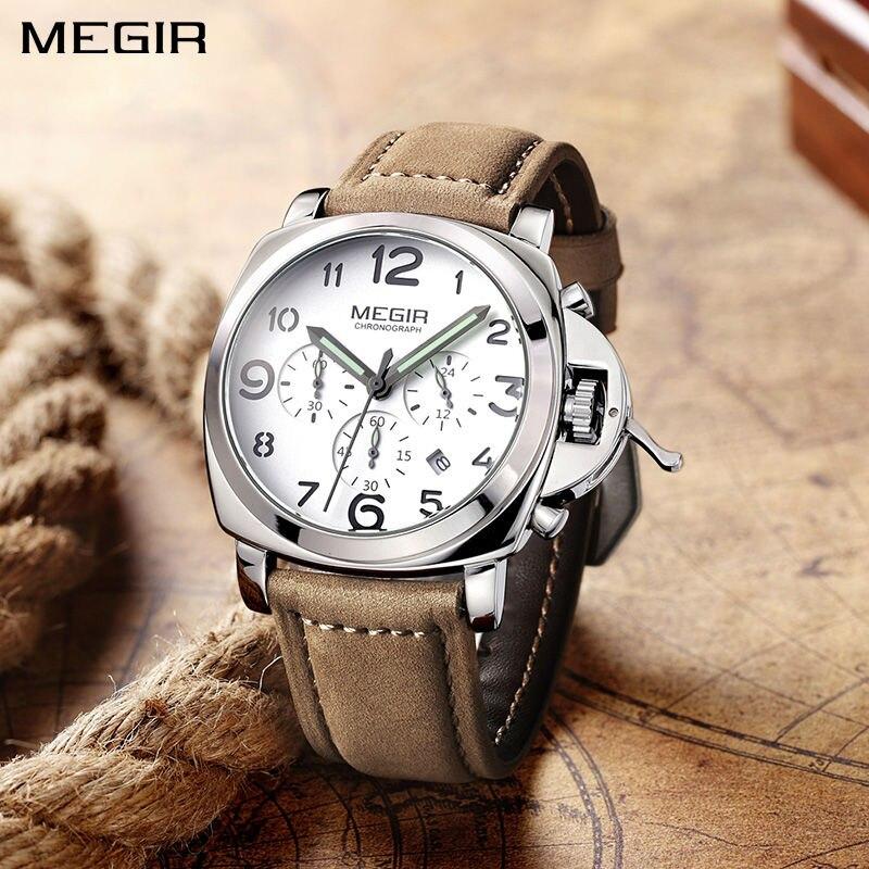 MEGIR Men Watch Top Brand Luxury Mens Quartz Watches Man Luminous Pointer Chronograph Waterproof Wristwatch Relogio Masculino цена и фото