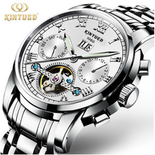 e87515978 Top de Luxo Da Marca KINYUED Clássico Homem Moda Relógio Mecânico de Aço  Inoxidável Relógios Dos Homens relógio de Pulso Relogio.