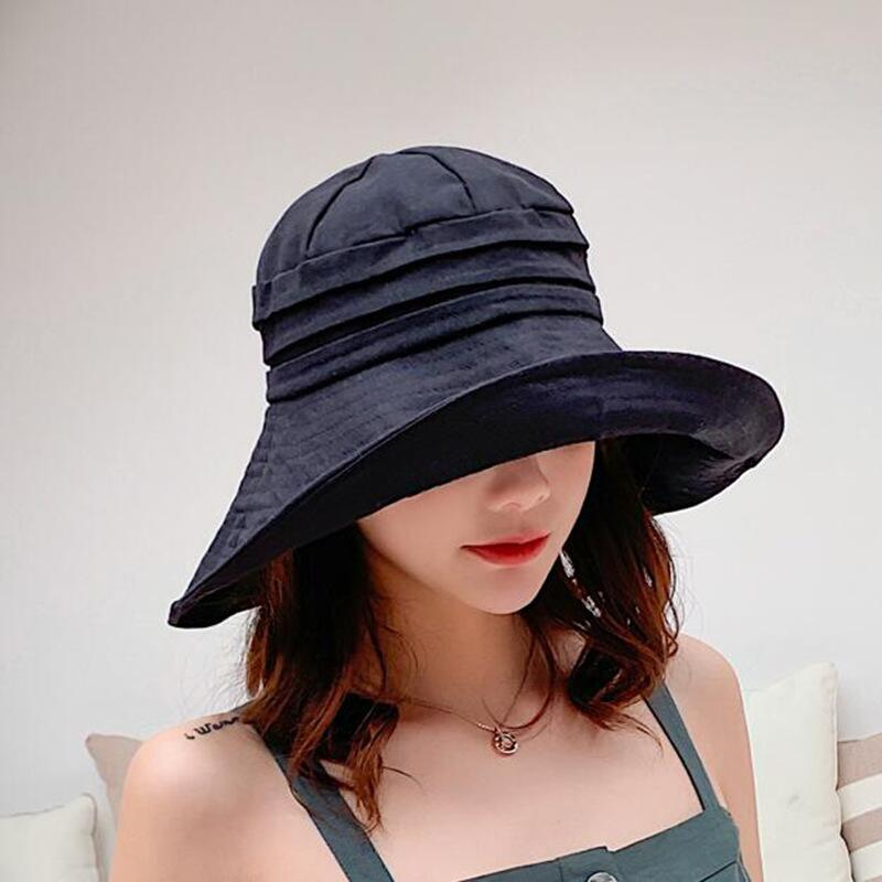 afce4d31eb3 BINGYUANHAOXUAN Black Cotton Bts Bucket Hat for Women Flat Solid Bob Casual  Panama Sun Hat Streetwear Hip Hop Cap Fishing Hat