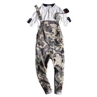 Free shipping Mens Print Casual Denim Jumpsuit Mens Jeans Overalls Camouflage Bib Pants Male Suspenders Jeans Ankle Length