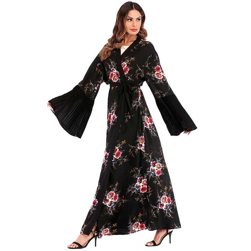 העבאיה דובאי קפטן הערבי האיסלאם ארוך פרחוני מוסלמי קימונו קרדיגן חיג 'אב שמלת קטאר איחוד האמירויות Abayas לנשים תורכי אסלאמי בגדים