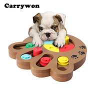 Carrywon Pet Toys Claw Bone Shape Food Feeder Interactive Wooden Puzzle Toy Dog Toys Educational IQ Training Game Plate