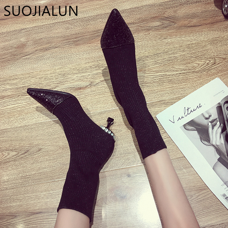 SUOJIALUN Autumn Women's Boots Pointed Toe Elastic Ankle Boots Thick Heel High Heels Shoes Fashion Bling Woman Female Boots xiuningyan women s boots round toe elastic ankle boots thick heel high heel shoe woman female fashion stretch socks boots winter
