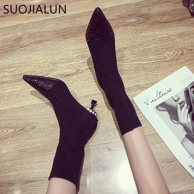 SUOJIALUN Autumn Women's Boots Pointed Toe Elastic Ankle Boots Thick Heel High Heels Shoes Fashion Bling Woman Female Boots