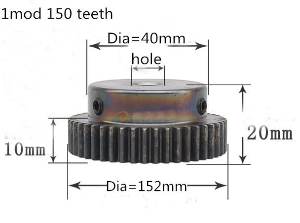 1pc Spur gear pinion 1mod 150teeth 1M 150T metal motor boss gear inner hole 8mm 10mm gear rack transmission RC boss rc 3