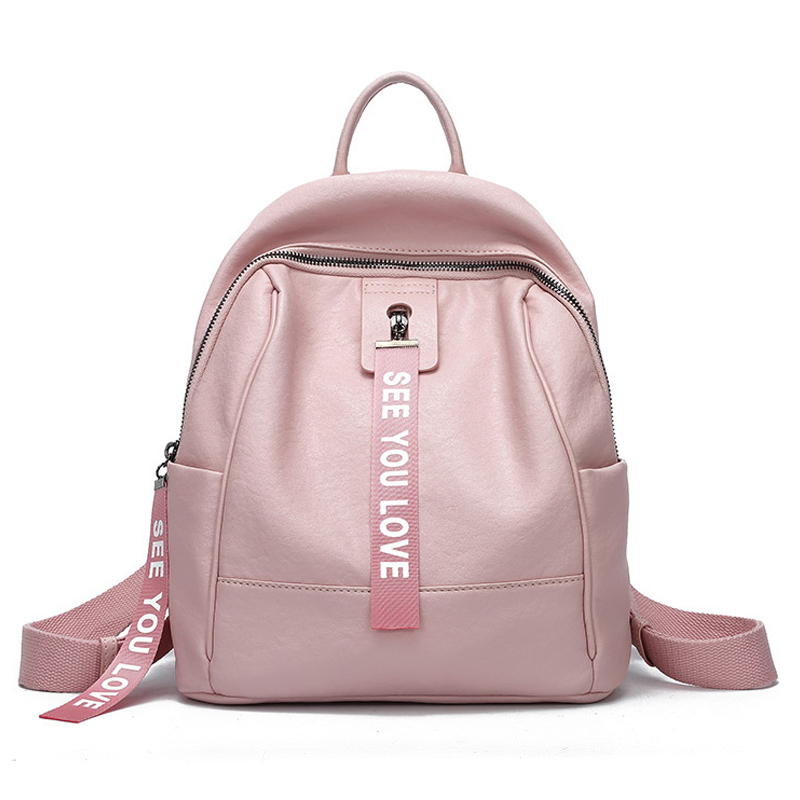 Fashion Anti Theft PU Leather Women High Quality Casual Travel Pink Backpack Female Daily Backpack Girls Black School Bag