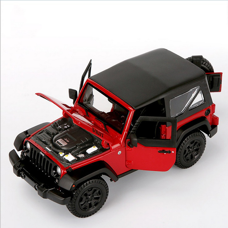 1/18 Scale Red Jeep Wrangler Willys Alloy Diecast Model Car Off-road Vehicle Model Toys For   Children Gifts Collections 1 18 scale hummer h1 red and black off road king diecast car model gifts collections toys for boys