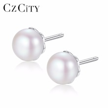 CZCITY Natural Cultured Freshwater Pearl stud Earrings for Women White Pink Pearls Pure 925 Sterling Silver Jewelry for Women czcity brand elegant petal delicate women 925 sterling silver stud earrings for women genuine silver jewelry gift