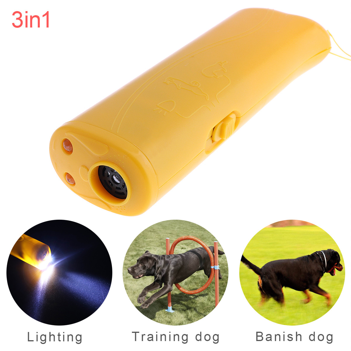 Ultrasonic LED Dog Repeller Trainer Pet Dog Rumbling Equipment Flashlight Torch With 3 Modes For Training Drive Dog Flash Light
