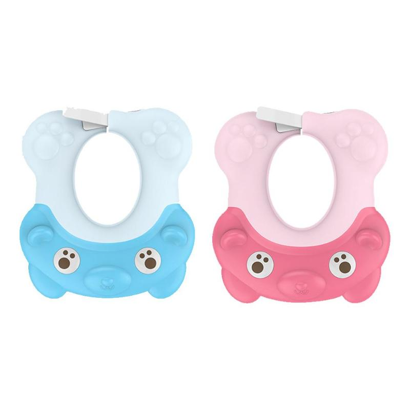 Cute Adjustable Baby Plastic Bath Hat Toddler Bathing Hats Waterproof Kids Shampoo Shower Cap Baby Bath Care Product Shampoo Cap