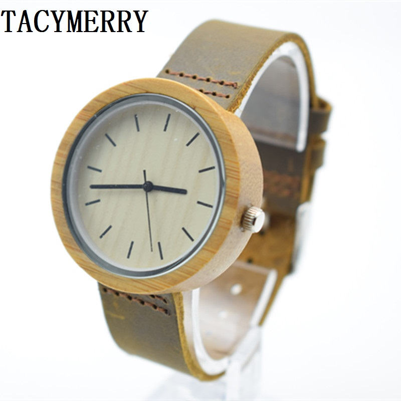2016 Hot Unique Vogue Womens Bamboo Wooden Watch Quartz Outdoor Sport Watches Clock With Leather Strap Montre Femme 2016fashion top luxury brand unique vogue mens quartz watches wooden outdoor sport watches clock casual wood watch