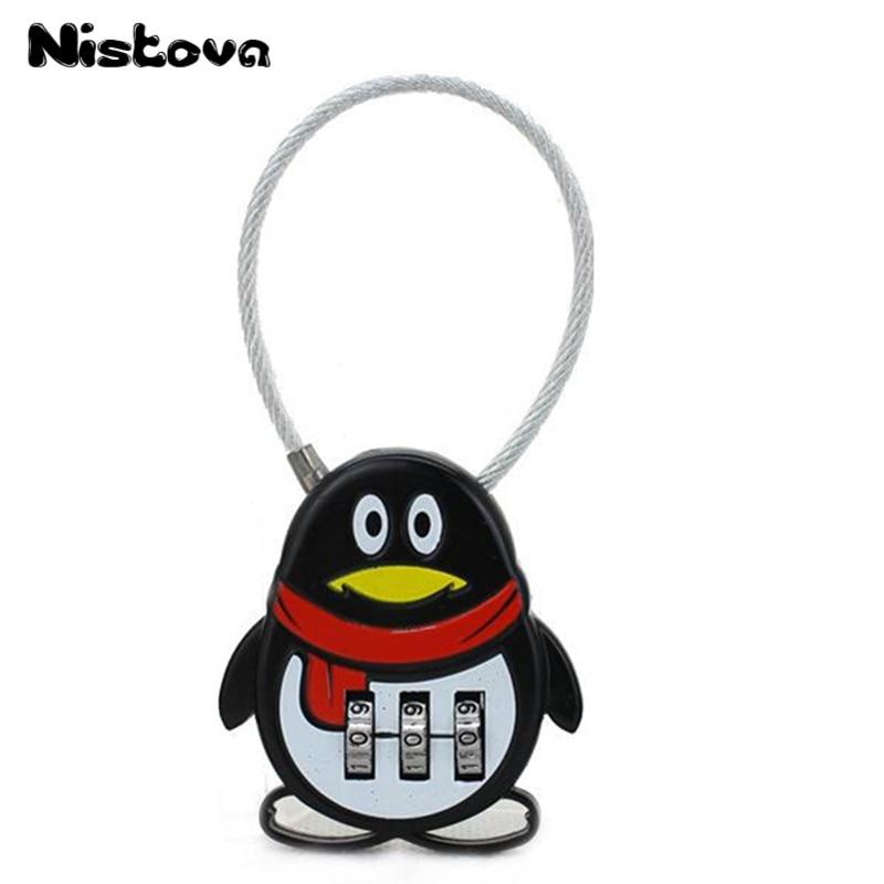 Cartoon Wenig Pinguin 3 Digitale Zifferblatt Kombination Code Anzahl Lock Reise Zubehör Gepäck Zip Tasche Rucksack Schublade Vorhängeschloss