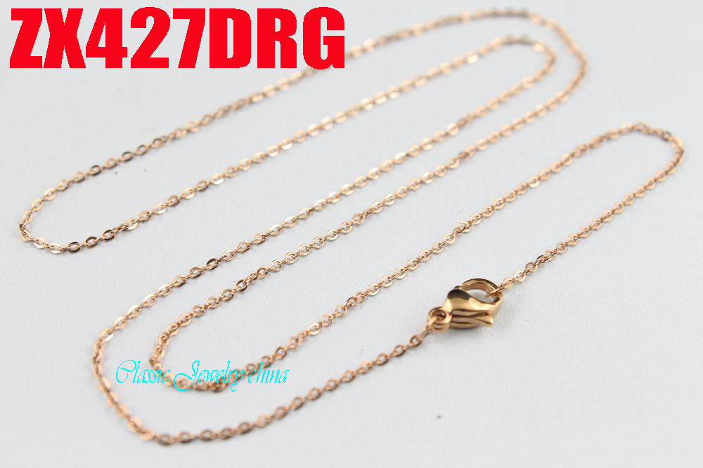 Rose golden color 1.2mm cross chain thin chain stainless steel necklace fashion women jewelry, chain is strong 20pcs ZX427DRG
