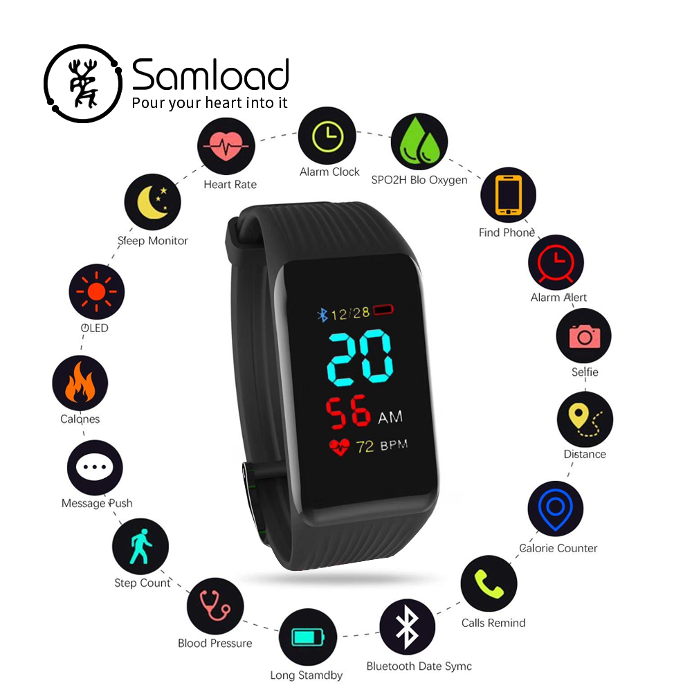 Samload Intelligente Senza Fili Del Braccialetto Inseguitore di Fitness Wristband Impermeabile Frequenza Cardiaca Continua Sonno Passo Per iPhone7 8 Xiaomi Sony