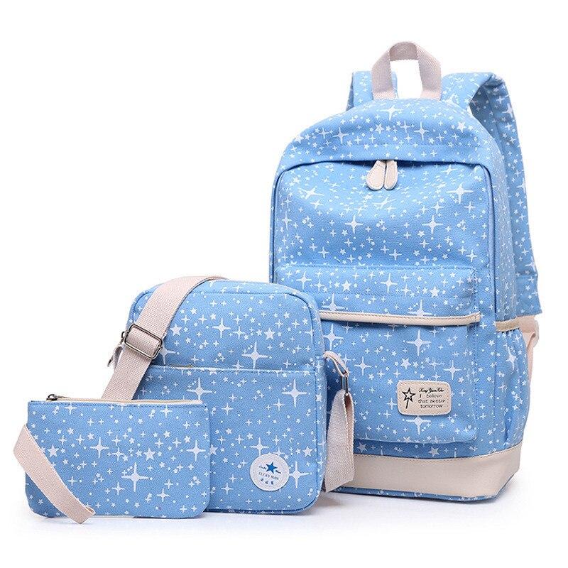 Summer Women Canvas Backpack Stars Printing Students Bookbag 3 Pcs School Bag Set For Youth Girls With Purse Bear Mochila