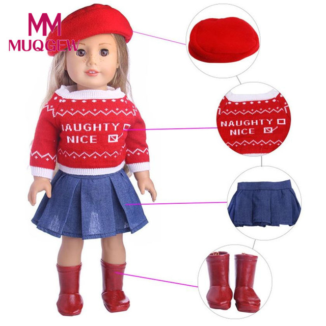 Drop Ship 4PC/3PC Cute Sweater Hat Outfits Skirt Fit For 18 inch Our Generation American Girl Doll accessories for dolls doll JD