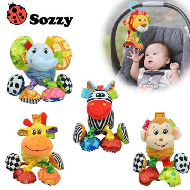 Sozzy New Baby Plush Toy Crib Bed Hanging Ring Bell Lion Elephant Monkey Toy Soft Baby Rattle Early Educational Doll