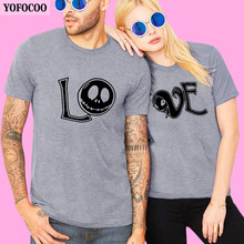 YOFOCOO Lovers Couple O-Neck T-Shirt Women Men Newest Valentines Gift Printing lOVE Couple Summer Matching Clothes for Lovers