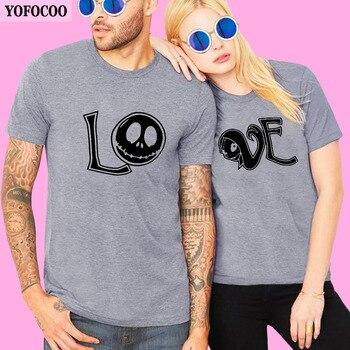 YOFOCOO amantes pareja cuello redondo Camiseta mujer hombre nuevo regalo de San Valentín impresión amor pareja verano ropa a juego para los amantes